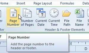 как добавить номера страниц в Excel 2010