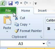 щелкните вкладку файла в верхней части окна