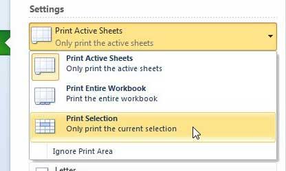 как распечатать выбор в Excel 2010