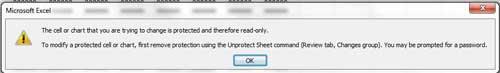 пример сообщения об ошибке, когда лист защищен