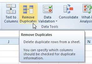 как удалить дубликаты в Excel 2010