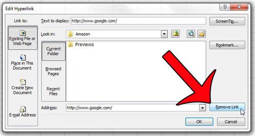 нажмите удалить ссылку в окне редактирования гиперссылки