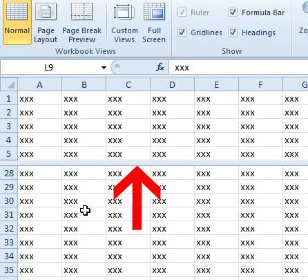 пример разделения экрана Excel 2010