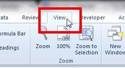 перейдите на вкладку просмотра Excel 2010