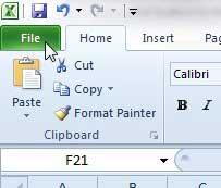 открыть вкладку файла Excel 2010