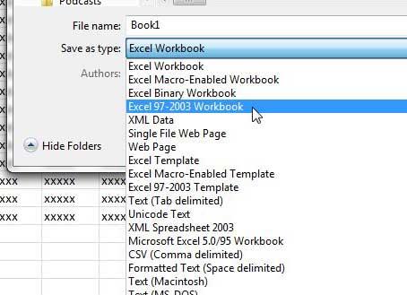 как сохранить в Excel 2010 для Excel 2003