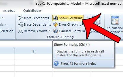 нажмите кнопку Показать формулы