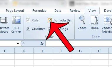 установите флажок в строке формул