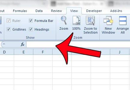 панель формул отображается