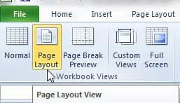 как посмотреть линейку в Excel 2010
