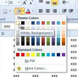установить цвет фона заливки в Excel 2010