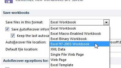 как сохранить как XLS по умолчанию в Excel 2010