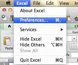 Откройте меню настроек Excel