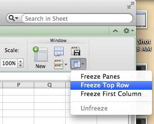 как заморозить верхний ряд в excel 2011