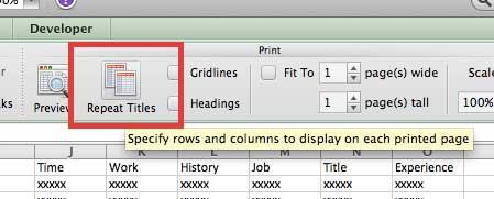 как повторять строки вверху каждой страницы в Excel 2011