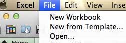 выберите опцию файла в верхней части экрана