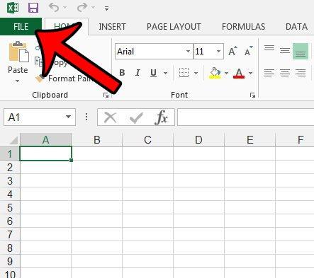 открыть меню файла Excel 2013
