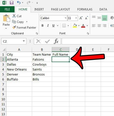 Как объединить два текстовых столбца в Excel 2013
