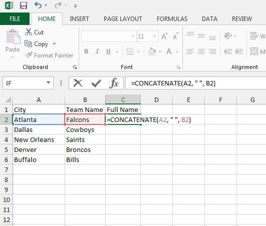 объединить два текстовых столбца в Excel 2013