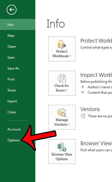 откройте меню параметров Excel 2013