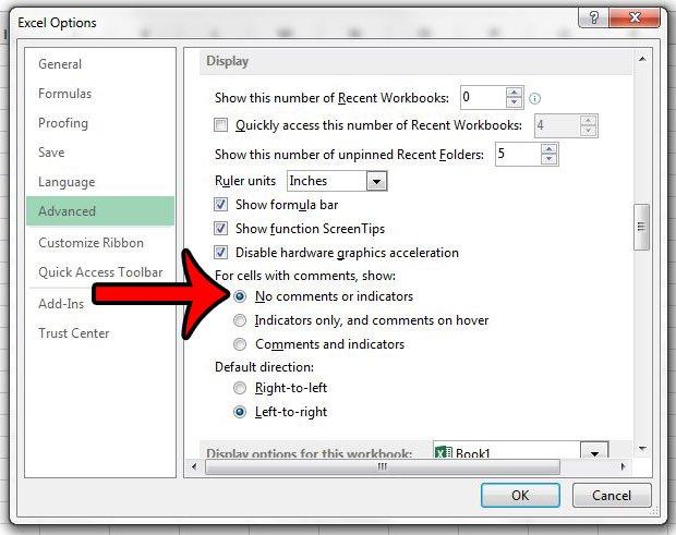 как скрыть комментарии и показатели в Excel 2013