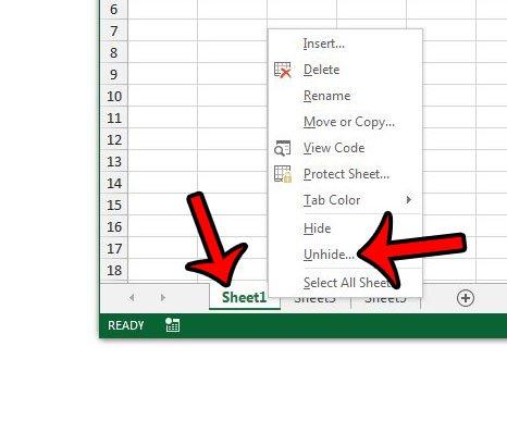 щелкните правой кнопкой мыши вкладку листа, затем нажмите, чтобы показать