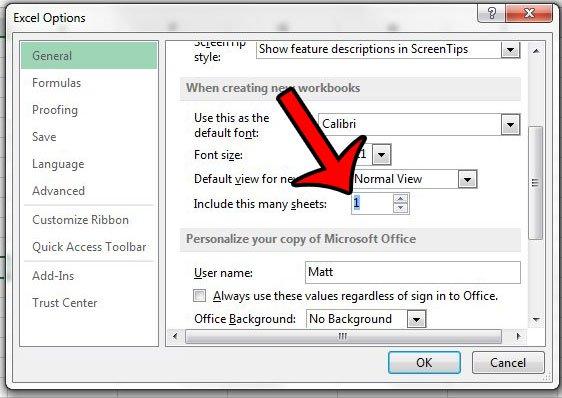 изменить листы по умолчанию на один в Excel 2013