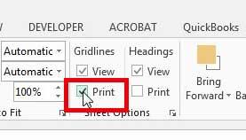 как печатать линии сетки в Excel 2013