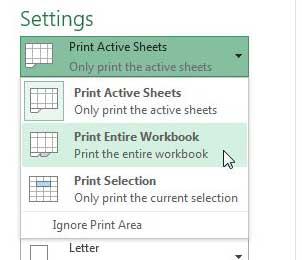 как распечатать листы на своей странице в Excel 2013