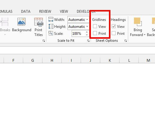 как удалить сетки в Excel 2013