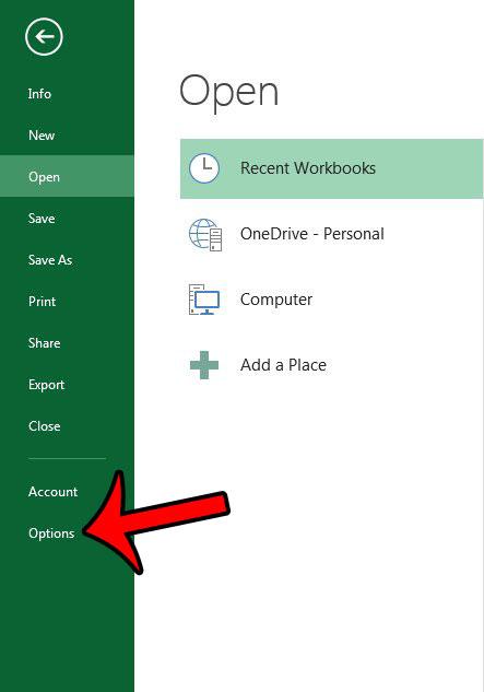 откройте окно параметров Excel