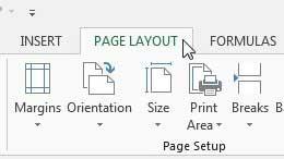 щелкните вкладку макета страницы