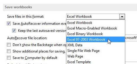 как сохранить в формате .xls по умолчанию в Excel 2013