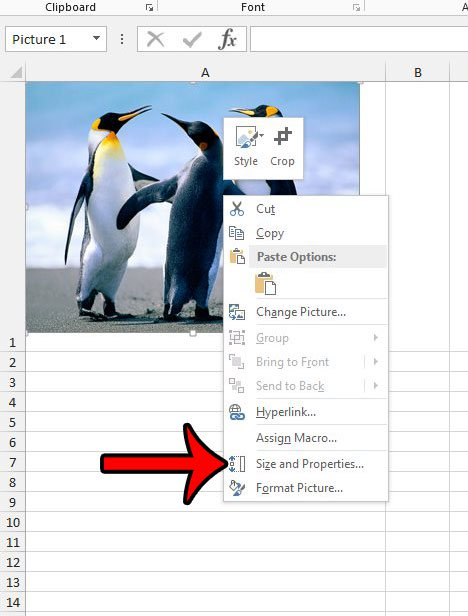 щелкните правой кнопкой мыши, затем выберите размер и свойства