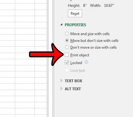 предотвратить печать изображения в Excel 2013
