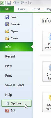 откройте окно параметров Excel 2010