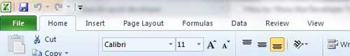 макет вкладки Excel 2010 по умолчанию