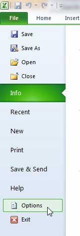 нажмите файл, затем выберите параметры в Excel