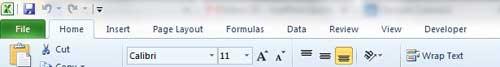 макет вкладки Excel 2010 с разработчиком