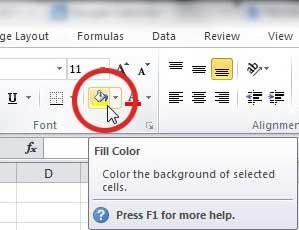 используйте значок цвета заливки Excel, чтобы заполнить ячейку, строку или столбец цветом