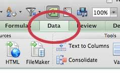 щелкните вкладку данных