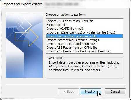 импортировать из другой программы или файла