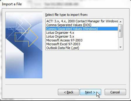выберите тип файла программы, которую вы импортируете