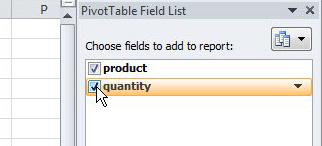 Выберите поля для включения в сводную таблицу
