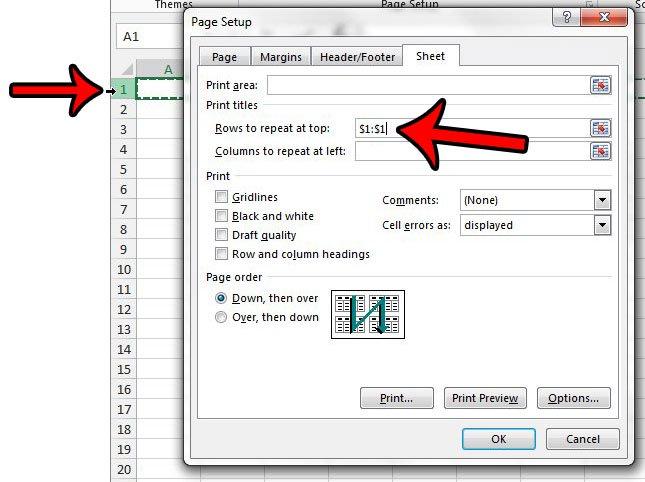 как повторить строки в верхней части страницы Excel - шаг 3