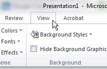 меню просмотра PowerPoint 2010