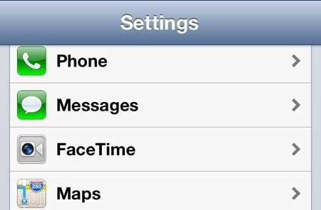 iPhone 5 FaceTime меню