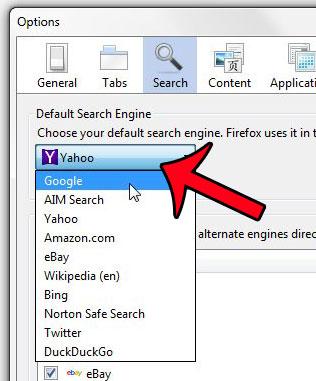 нажмите раскрывающееся меню поисковой системы по умолчанию