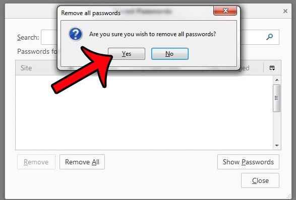нажмите кнопку Да, чтобы подтвердить, что вы хотите удалить пароли