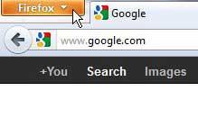 щелкните вкладку Firefox, чтобы открыть меню